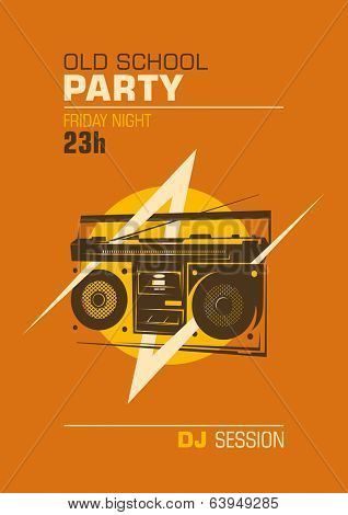 Old school party poster. Vector illustration.