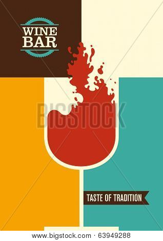 Minimalistic wine bar poster design. Vector illustration.