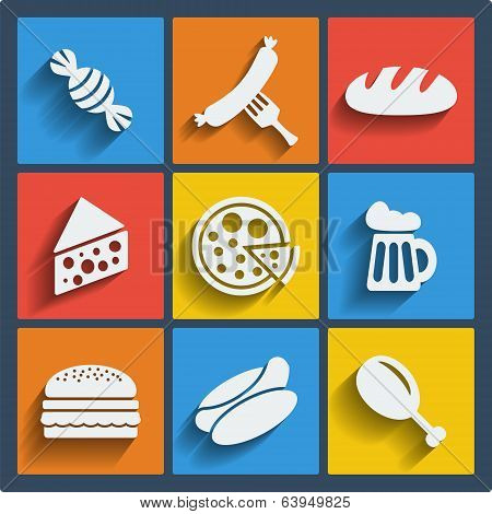 Set of 9 food web and mobile icons. Vector.
