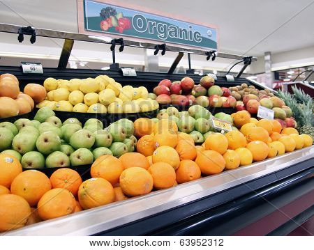 local organic produce at a grocery shop or store