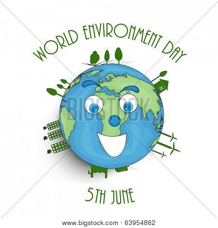 World Environment Day concept with illustration of mother earth and stylish text on white background.