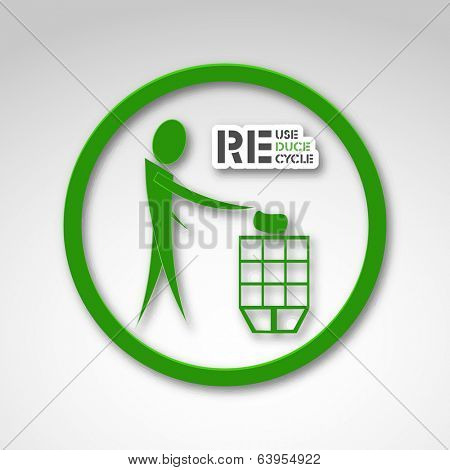 World Environment Day concept with illustration of a man dumping the garbage into a dustbin and stylish text.