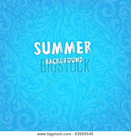 Vector Background. Floral Pattern, Wallpaper with Flowers. Vintage Background. Summer Blue Design