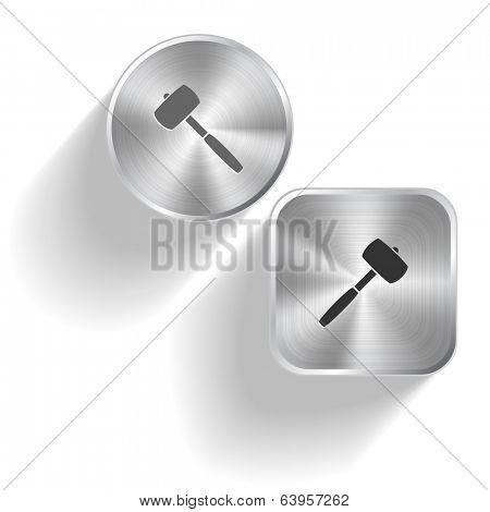 Mallet. Vector set steel buttons