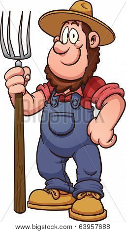 Cartoon farmer. Vector clip art illustration with simple gradients. All in a single layer.