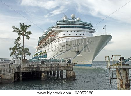 Cruiseship Docked In A  Florida Harbor