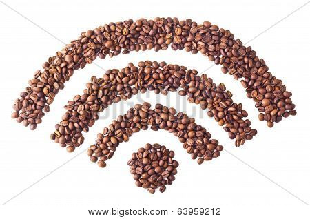 'Wi-FI' symbol from coffee beans