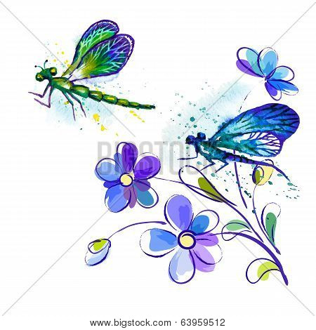 Vector watercolor background with dragonflies and flowers
