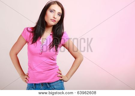 Childish Young Woman Infantile Girl In Pink. Longing For Childhood.