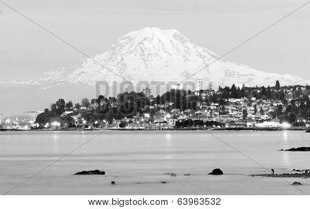 Mt Rainier Sunset Cascade Range Puget Sound North Tacoma Washington