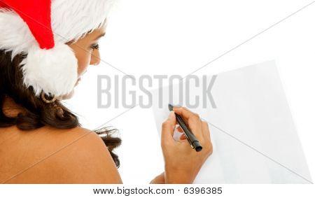 Santa Woman Writing