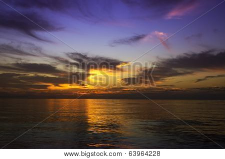 Colour Sunset In Pacific Ocean