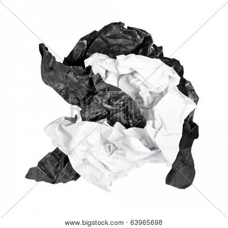 Screwed up piece of paper isolated on white background