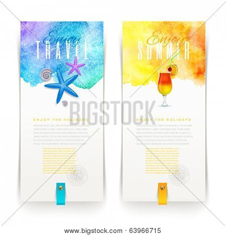 Summer and travel watercolor banners - vector illustration