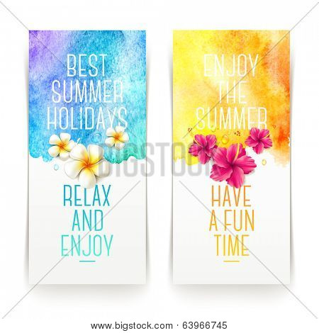 Summer holidays watercolor banners with tropical flowers and summer greetings - vector illustration