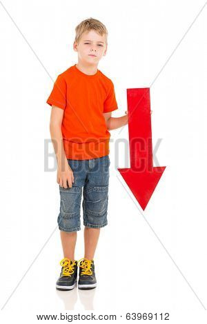 unhappy boy with direction arrow sign pointing down