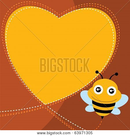 Flying bee and heart shape.