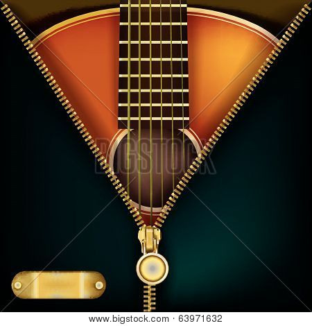 Abstract Background With Guitar And Open Zipper