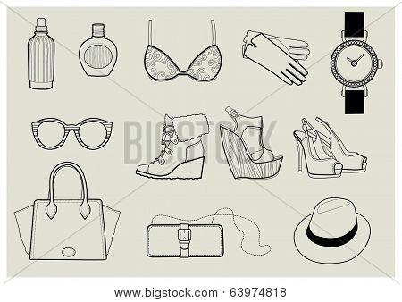 Vector Set Of Trendy Fashion Illustration