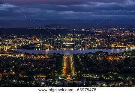 CANBERRA, AUSTRALIA - 26TH APRIL 2014: Bird's eye view of Canberra city at night as seen from Mount