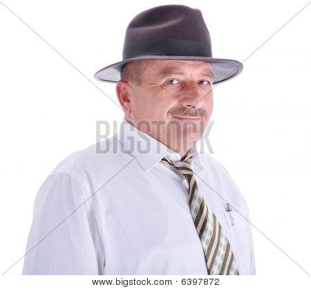 Elderly Male Person With A Hat, Isolated
