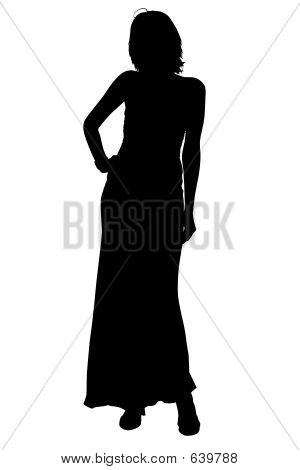 Silhouette With Clipping Path Woman In Formal Gown