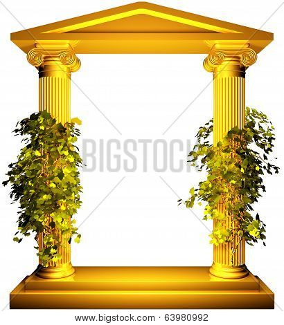 Ionic gold frame with vine