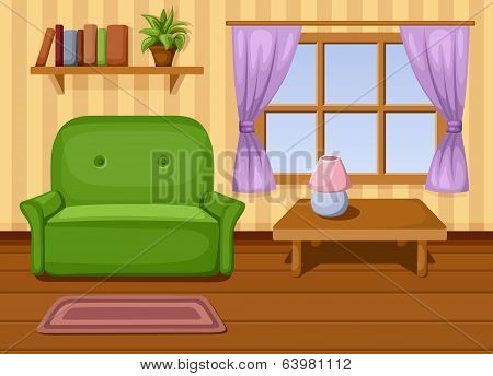 Living room. Vector illustration.