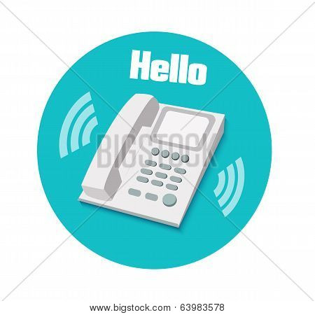 Phone In Flat Design. Landline Phone