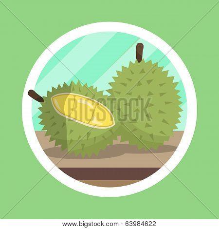 King Fruit Durian Illustration