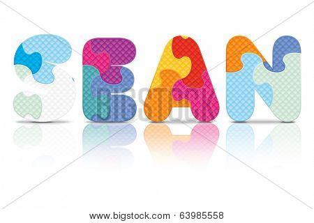 SEAN written with alphabet puzzle - vector illustration