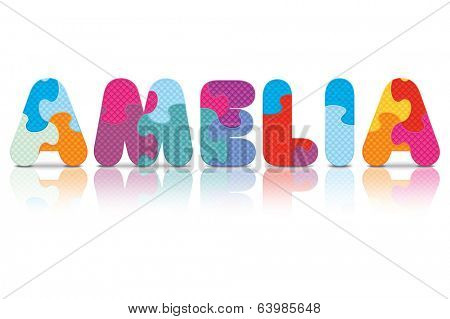 AMELIA written with alphabet puzzle - vector illustration