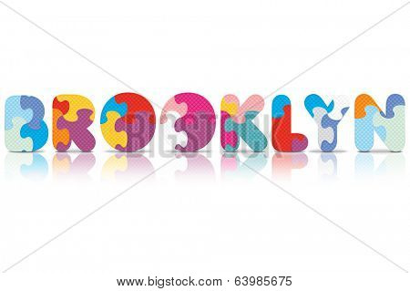 BROOKLYN written with alphabet puzzle - vector illustration