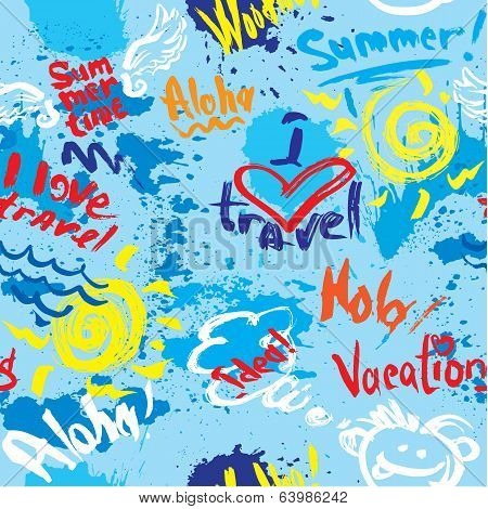Seamless Pattern With Blots, Ink Splashes And Hand Written Text Vacations, I Love Travel, Welcome, E
