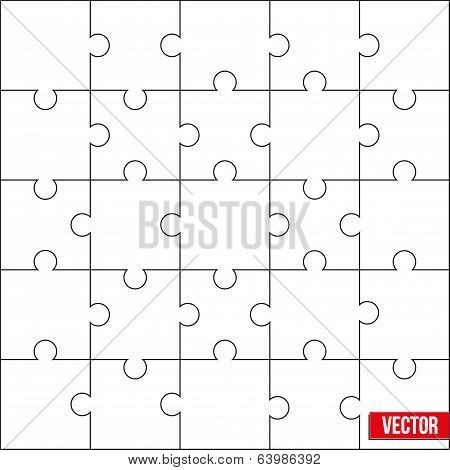Sample of square puzzle blank template or cutting guidelines. Vector.