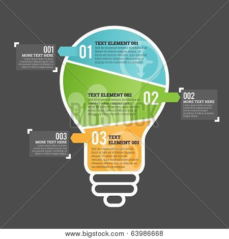 Three Part Bulb Infographic Element