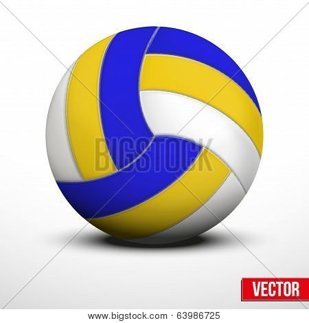 Volleyball in traditional tricolor colors on white background