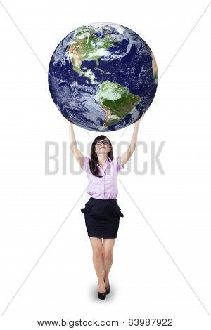 Businesswoman Holding The Earth Isolated