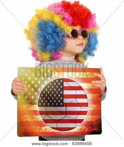 Child With Usa Soccer Background