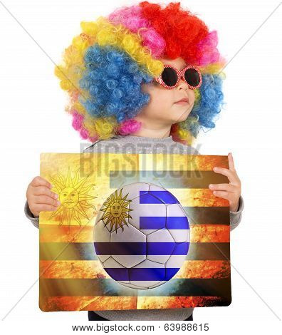 Child With Uruguayan Soccer Background