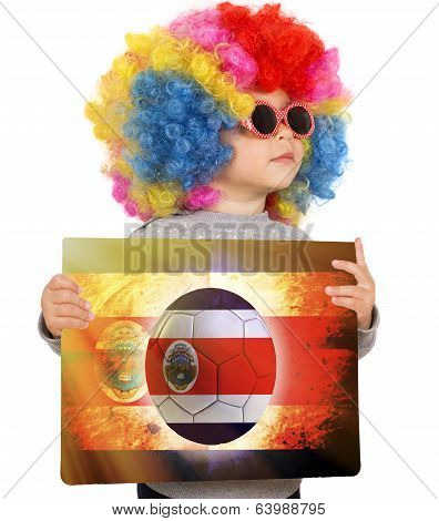 Child With Costa Rican Soccer Background