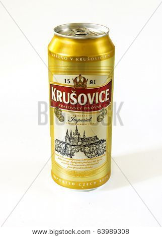 MOSCOW - APRIL 26, 2014: Krusovice beer. Krusovice Imperial (12 degree) is brewed at the Krusovice brewery 30 km west of Prague. This beer is a bitter pale lager with a rather hoppy aroma.