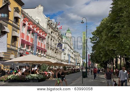 Oslo, Norway - July 2013: People Relaxing at Sidewalk Cafes in Oslo