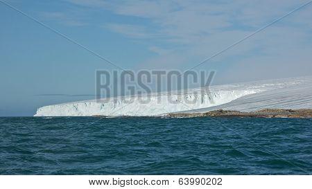Ice Covered Andreeneset in Kvitoya, Svalbard