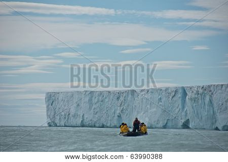Svalbard, Norway - July 2013: Taking a Close-up Look at Brasvellbreen in Nordaustlandet