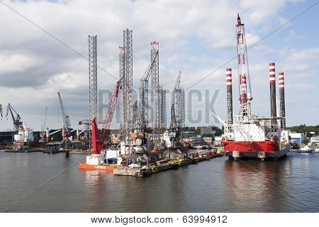 Dry Docked Oil Platforms