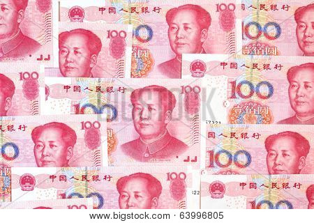 Chinese yuan renminbi banknotes close-up