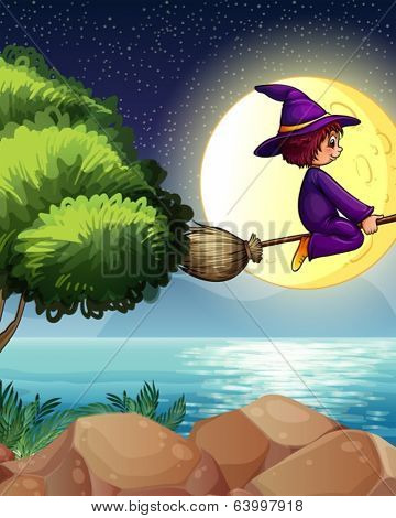 Illustration of a witch flying with a broom in the middle of the night