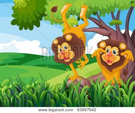 Illustration of a tree with two playful lions