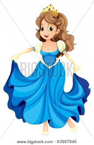 Illustration of a happy young princess on a white background